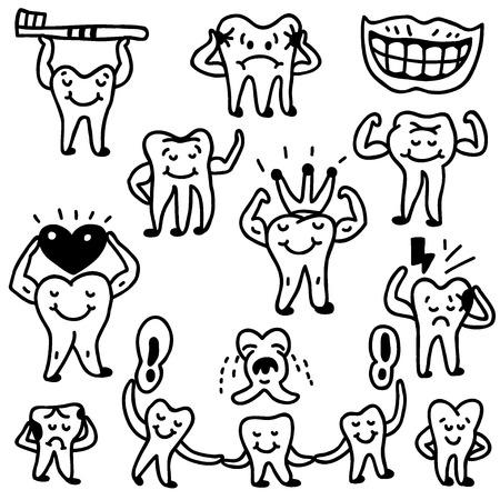 dientes sucios: dientes - iconos en el estilo de dibujo, elementos de dise�o Vectores