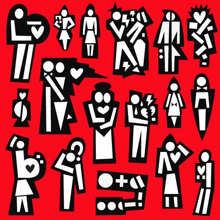 broken unity: man and woman in love - set vector symbols in graphic style