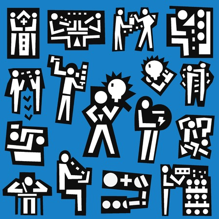 developers: people , teamwork , developers - set vector symbols in graphic style
