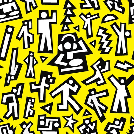 dance: dancing people - seamless vector pattern with icons in graphic style
