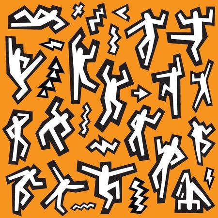 dancing people -  vector icons set , design elements Illustration