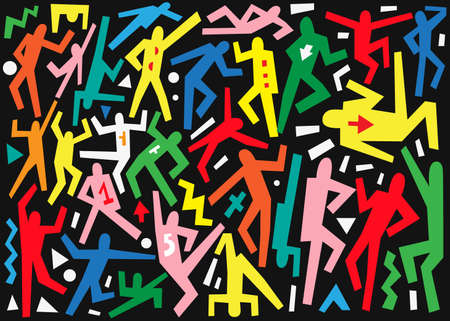 abstract dance: dancing people -  vector icons set , design elements Illustration