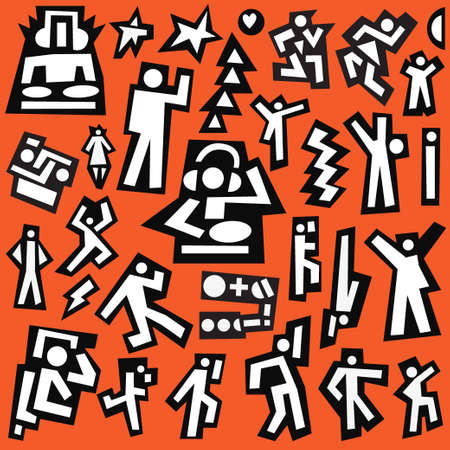 dancing people -  vector icons set , design elements Vector
