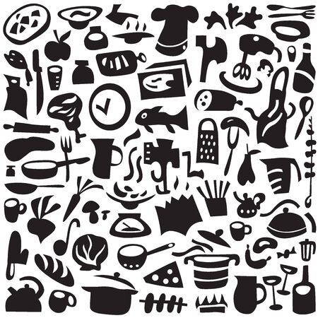 kitchen tools: Cookery, kitchen tools - set icons in graphic style