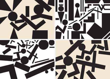 people psychology - abstract backgrounds set in graphic style Vector