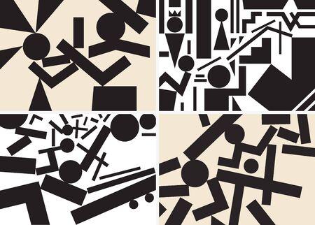 conflictos sociales: personas psicología - fondos abstractos establecidos en el estilo gráfico