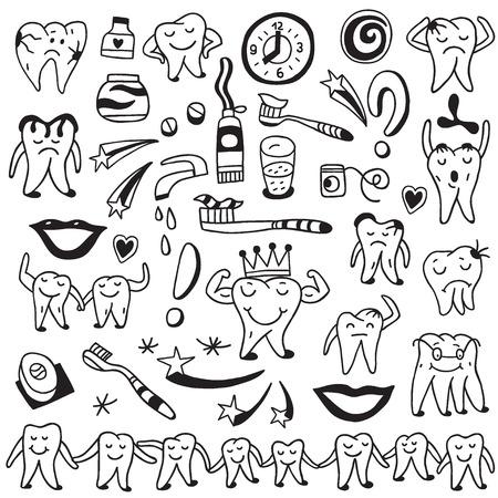 dientes sucios: Higiene, diente - establecer iconos en el estilo de dibujo