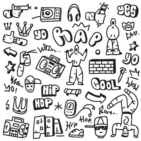 rap - set icons in sketch style Ilustrace