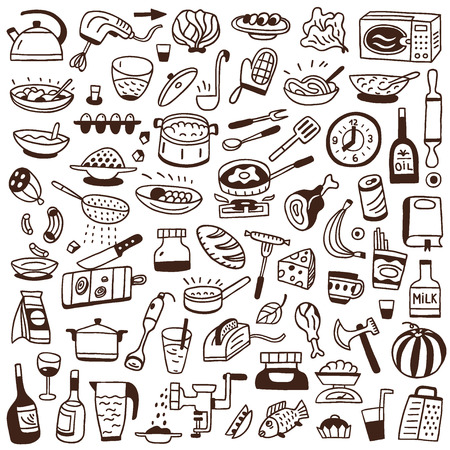 Cookery, food - set icons in sketch style