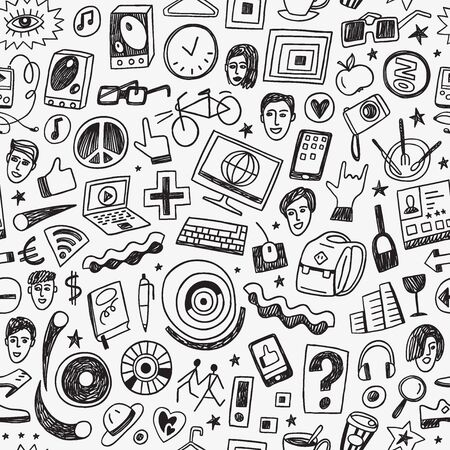 hipsters seamless vector background with icons in sketch style