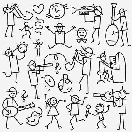 musico: Músicos - establecidos iconos de líneas finas aisladas en el fondo blanco Vectores