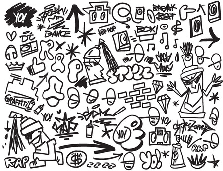 rap music: rap  , hip hop , graffiti - vector icons in sketch style