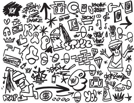 grafitis: rap, hip hop, el graffiti - iconos vectoriales en el estilo de dibujo