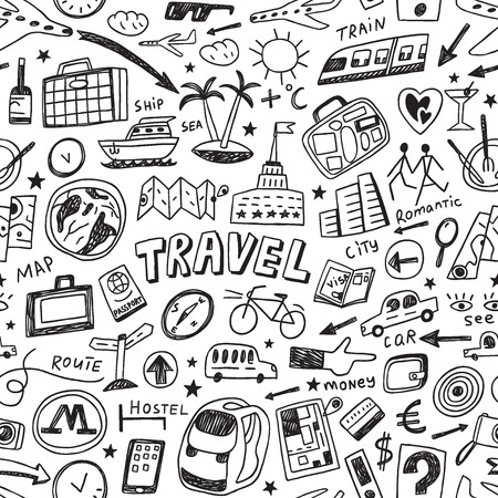 travel - seamless background with icons in sketch style Stock Illustratie