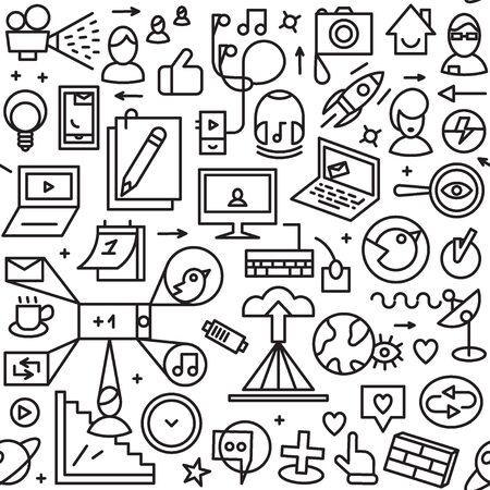 media icons: Web seamless background with thin line icons Illustration