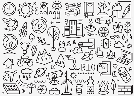 plants and trees: Ecology - set thin line icons , design elements Illustration