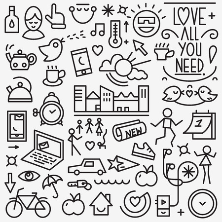 good: Good morning - set thin line icons , design elements Illustration