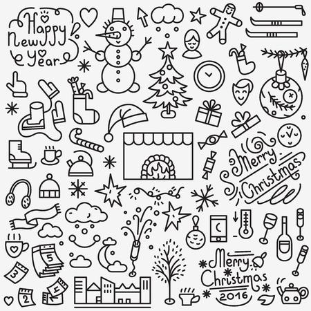 winter holidays: Winter holidays - set thin line icons , design elements