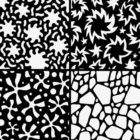 set seamless abstract vector patterns with graphic elements