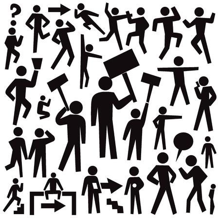 people protest - set graphic icons , design elements Illustration