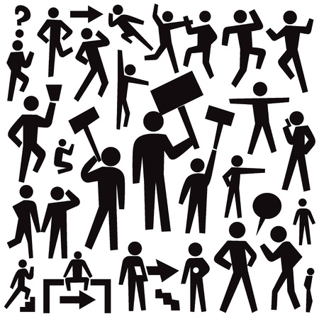 community group: people protest - set graphic icons , design elements Illustration