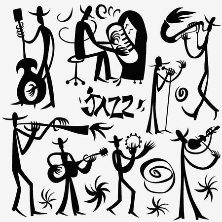 tenore: jazzisti - set illustrazione vettoriale, elementi di design Vettoriali