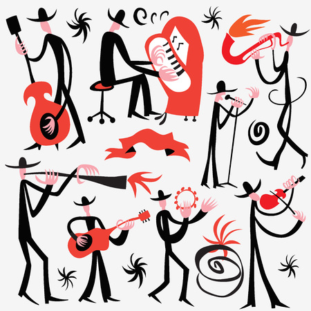 instrumental: jazz musicians - set vector illustration , design elements