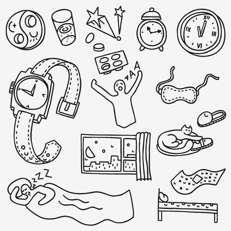sleeping pills: Sleeping time - set vector illustration in sketch style