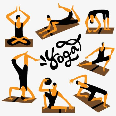 vector cartoons: yoga character - set vector cartoons ,design elements