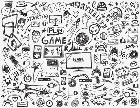 computer games: computer games - set vector icons in sketch style Illustration