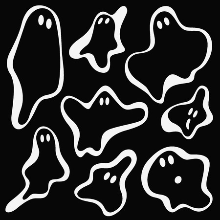 vector cartoons: ghosts set vector cartoons , design elements Illustration