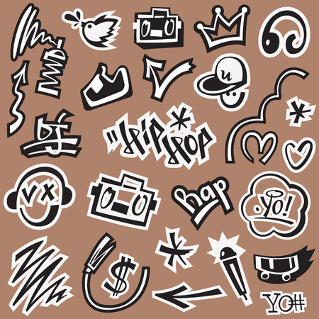 hip hop style: rap , hip hop , graffiti - set vector symbols in graphic style