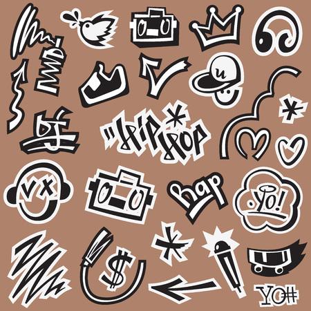 rap , hip hop , graffiti - set vector symbols in graphic style