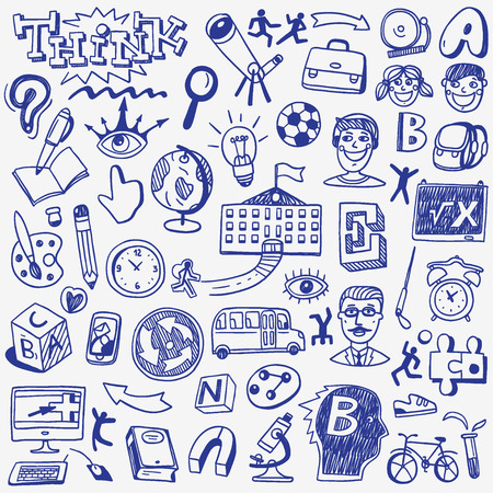 School education - set icons in sketch style Illustration