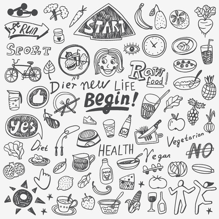 diet food: Health, food, diet - set icons in sketch style