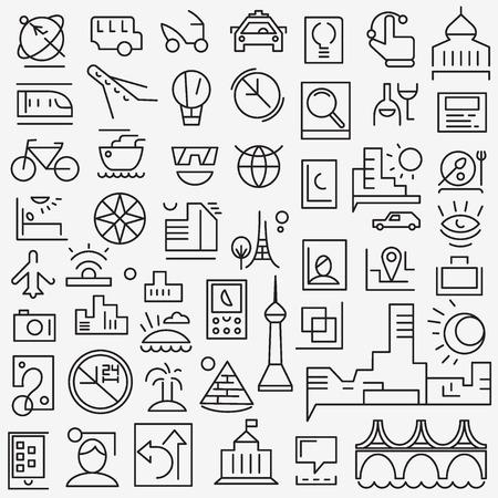 reloj: iconos de l�nea conjunto de vectores, elementos de dise�o - de viaje