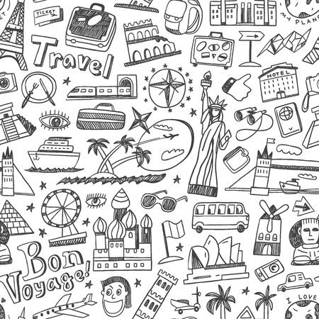 voyage: Voyage pattern avec des icônes de style de croquis