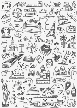 cruise travel: travel landmarks - set icons in sketch style