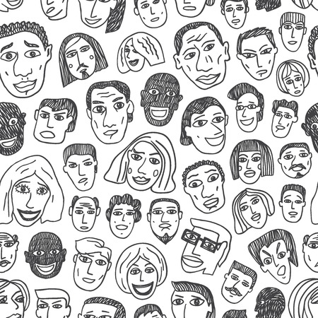 black lady talking: People emigrants faces - seamless pattern with icons in sketch style