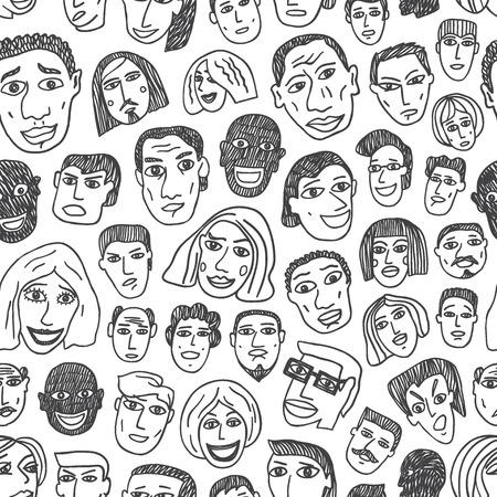 emigranti: Persone Emigranti volti - seamless con icone in stile schizzo