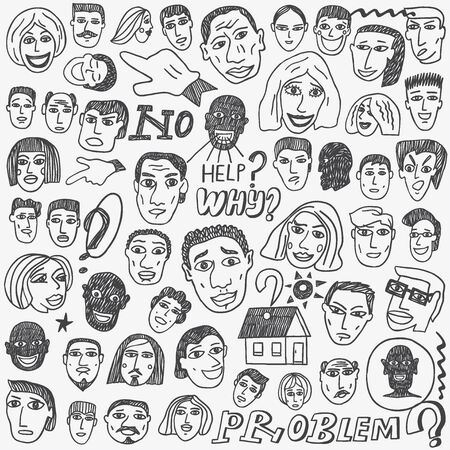 emigranti: People emigrants faces , doodle cartoon set