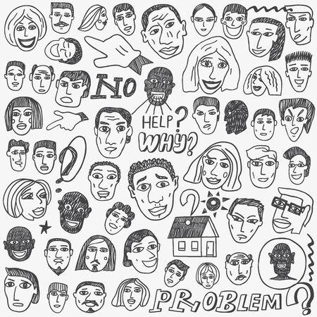 emigranti: Persone Emigranti volti, set cartone animato Doodle Vettoriali