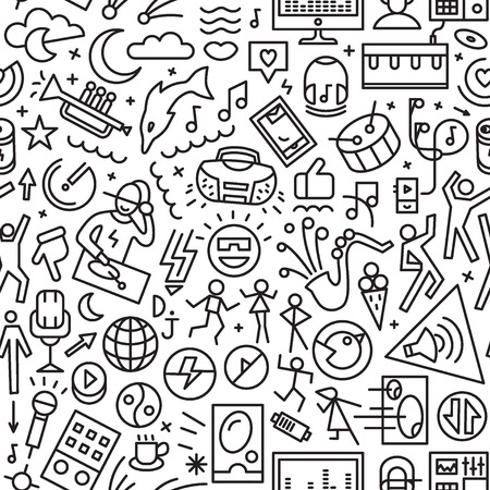 computer dancing: music seamless pattern with line icons , design element Illustration