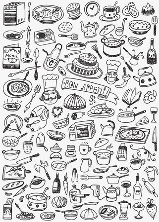 soup: Cookery food set icons in sketch style , design elements