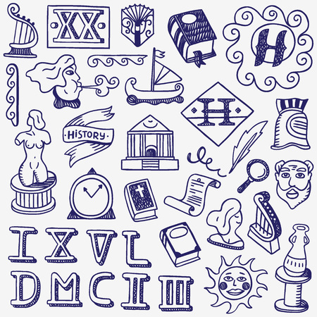 history - set  icons in sketch style , design elements Çizim