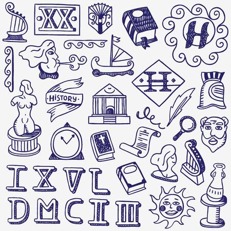 storia - set di icone in stile schizzo, elementi di design