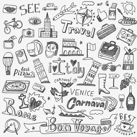 Italy travel  - set icons in sketch style Stock Vector - 46592487
