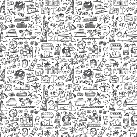 travel seamless pattern with icons in sketch style