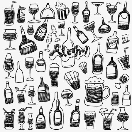 doodle: alcohol bottles - set icons in sketch style Illustration