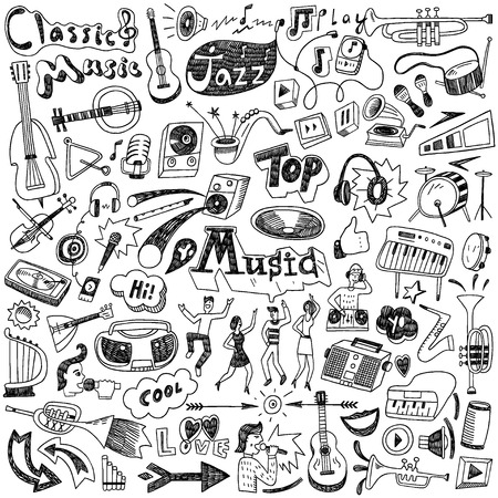 audifonos dj: Garabatos de Música - establecer iconos en el estilo de dibujo Vectores